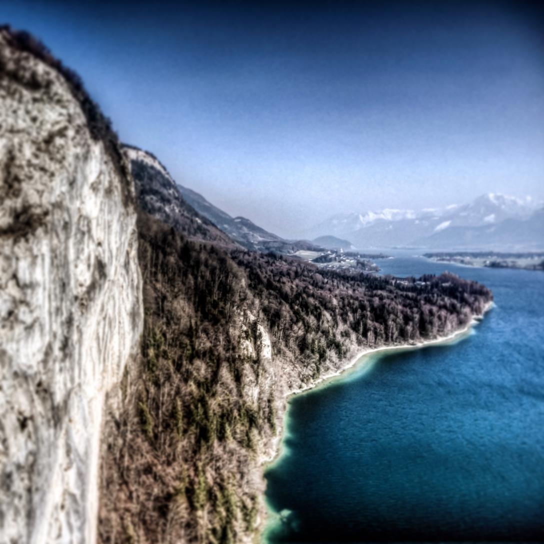 Mountain lake dive site on Wolfgangsee
